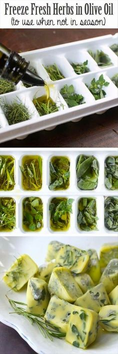 Freeze fresh herbs in olive oil. Great way to use up your herbs and minimise food waste. – I Quit Sugar