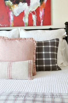 Red and Gray Farmhouse Guest Room