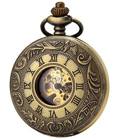 SEWOR Vintage Hollow Roman Alloy bronze Unisex Pocket Watch Double Open Gift -- Want additional info? Click on the image.