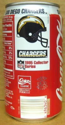 COCA-COLA '95 SAN DIEGO CHARGERS Soda CAN Coke Football  -- Remember these~~??  Oh yeah! ~*~moonmistgirl~*~