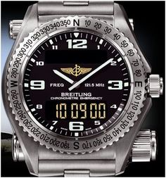 Breitling rescue watch..your plane goes down in the middle of the Pacific, just pull the little antenna out (lower right) and it transmits a beacon at 121.5 MHz for communicating with search and rescue (SAR) services.
