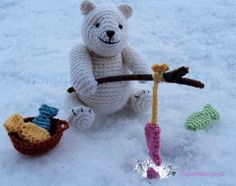 THIS LADY DOES BEAUTIFUL WORK; Polar Bear Out Fishing Amigurumi PDF Crochet by handmadekitty, $4.99