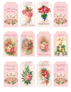 So Shabby Pink Paper Scrapbook Tags Rose 22  These are at a cost but so so pretty!