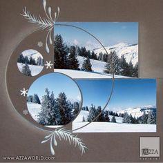 scrap azza paysage montagne hiver bleu gris