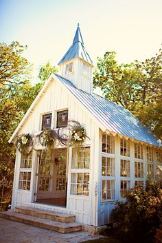 Lodge - College Station, TX October 2011 On the property as a small wedding option. Patio, Backyard, Greenhouse Shed, Best Barns, Barn Wedding Venue, Chapel Wedding, Wedding Chapels, She Sheds, Old Churches