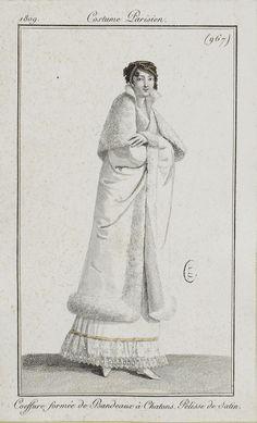 """Costume Parisien, 1809,     From the Bibliothèque des Arts Décoratifs via SceneInThePast flickr.   Plate 967  """"Coeffure formée de Bandeaux à Chatons. Pelisse de Satin."""""""