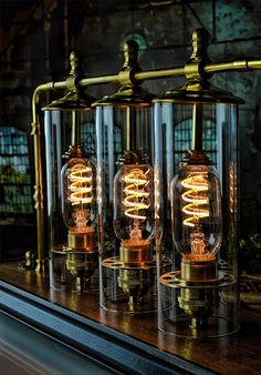 Glass Cylinder – Hand Blown – x Glass Tube Light Lampe Steampunk, Steampunk House, Steampunk Design, Steampunk Interior, Pulley Light, Pipe Lamp, Pipe Desk, Pipe Table, Edison Lighting