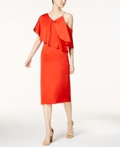 Fame and Partners The Poppy Asymmetrical Ruffle Dress - Red 12