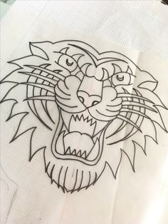 Dibujo tradicional • old school • tattoo • tigre• #tattoo #traditional #leon #tiger #tradicional #handmade #leon