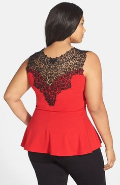 Free shipping and returns on City Chic 'Lace Love' Top (Plus Size) at Nordstrom.com. A black lace yoke with intricate patterning adds dramatic romance to a sleeveless stretch-knit top in a curve-flattering cut with a flouncy peplum hem.
