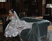 Marianna's custom embroidered cathedral length veil