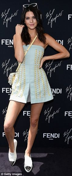 Kendall Jenner in strapless blue embellished dress at Fendi #dailymail