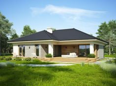 DOM.PL™ - Projekt domu FA OCEANIA CE - DOM GC6-28 - gotowy koszt budowy Florida House Plans, Florida Home, Bungalow House Design, Modern House Design, Beautiful House Plans, Beautiful Homes, Weekend House, Gazebo, Outdoor Structures