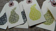PERFECT PEAR   Hand stamped luggage style gift tags  by papercatz, $2.00