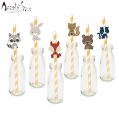 Woodland Creatures Straw 24PCS Paper Straws Birthday Party Festive Supplies Decoration Paper Drinking Straws Animals Straws-in Straws from Home & Garden on Aliexpress.com | Alibaba Group