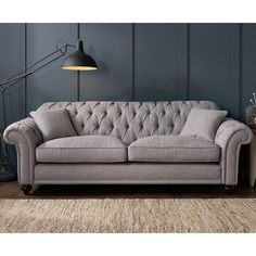 Bordeaux On Back 4 Seater Grey Fabric Sofa With 2 Accent Pillows