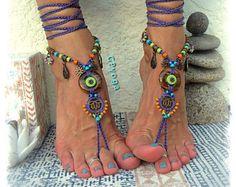 TIGER EYE Barefoot SANDALS Purple Lotus Wedding accessories beaded Crochet sandal Foot jewelry Yoga Gypsy Bohemian summer Sun Beach GPyoga