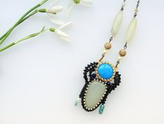 Extra Long Jade Necklace, Beaded Jade Necklace, Long pendant Necklace by ThezoraArtBijoux