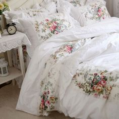 bedspreads in a bag Picture - More Detailed Picture about New pastorale ruffle lace bedding set elegant princess bedding matching duvet cover flower printed bedspread emboridery bedsheet Picture in Bedding Sets from Julliette Dream Textile Co. Ruffle Duvet, Ruffle Bedding, Cotton Bedding, Queen Bedding Sets, Luxury Bedding Sets, Comforter Sets, Modern Bedding, Shabby Chic Bedrooms, Shabby Chic Furniture