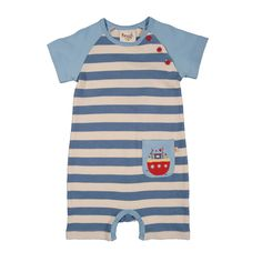 Frugi Boat Romper Baby Grow - Captain Blue/Natural Stripe