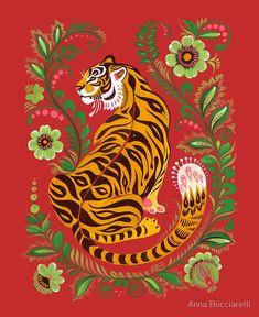 Tiger Folk Art' Poster by Anna Bucciarelli is part of Tiger Folk Art Posters By Anna Bucciarelli Redbubble - Tiger illustration featuring Eastern European folk art motifs Tiger Illustration, Cat Illustrations, L Wallpaper, Pattern Wallpaper, Plakat Design, Drawn Art, Kunst Poster, Art Populaire, Cat Art