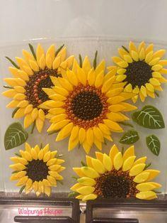 Fused glass - sunflower backsplash