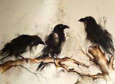Original Crow dessin au fusain trois corbeaux sur une branche