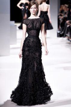 black lacy gown. Pulled in waist, soft neckline #TopshopPromQueen