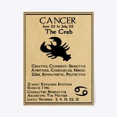 Cancer Zodiac Poster/Canvas Gift   The Crab