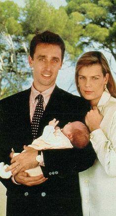 Princess Stephanie of Monaco and her husband, Daniel Ducruet with their newborn son, Louis in 1992.
