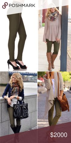 Olive Soft Leggings Brand new with tag. Very buttery soft and non sheer. Waist soft elastic band. 92% polyester and 8% spandex. One size - it can fit size from 2-12 comfortably.  I add variety of pictures to give you ideas what Olive legging outfits to look alike. Infinity Raine Pants Leggings