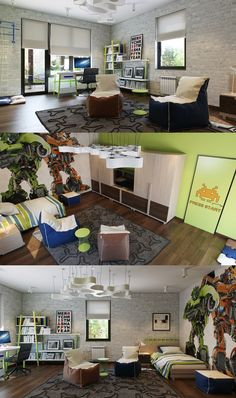 For a wild take on a boys room, check out this space with bean bag chairs and Transformer wall art.
