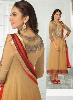 #RakulPreetSingh Fabulous Beige #Brown #Embroidered #Suit With Unique Border Work
