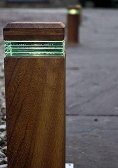 URBAN LED Wooden Bollard light - Residential Outdoor Lighting - Commercial Exterior Lighting - Bespoke Outdoor Bollard Lighting