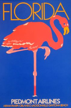 Florida and Piedmont Airlines vintage travel poster with a Pink Flamingo
