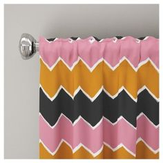 "Brush Chevron Blackout Curtain Panel (63""x50"") Pink & Yellow - Skyline Furniture"