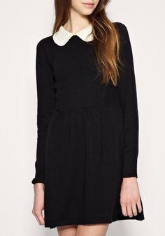 ++ Black Lapel Knee Length High Waist Cotton Dress