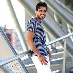 32€ - T-shirt marinière 100% coton bleu/blanc manches courtes. <br>