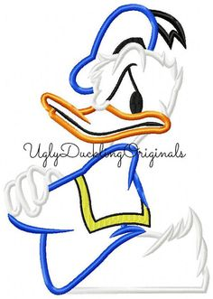 Grumpy Donald Duck Machine Embroidery Applique by UDOappliques