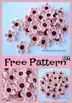 Pretty Crochet Cherry Blossom Free Pattern crochet flowers Best 2019 Knitting id… Unique Crochet, Love Crochet, Crochet Motif, Easy Crochet, Crochet Stitches, Knit Crochet, Thread Crochet, Crochet Bags, Crochet Puff Flower