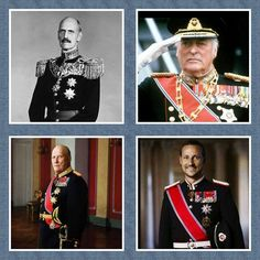 King Haakon Vll ( 1872-1957 ), King Olav V ( 1903-1991), King Harald V ( 1937 - ), Crown Prince Haakon Magnus ( 1973- ) of Norway. ..
