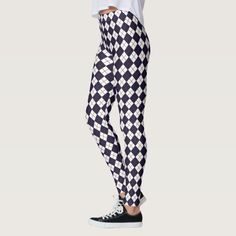 Mix it up! Pair these sporty navy blue argyle leggings with a long sports tee or a boat-neck tunic.