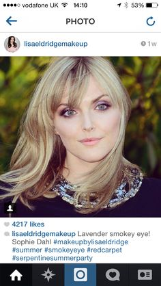 Sophie Dahl with a beautiful lavender smokey eye by Lisa Eldridge. This is an amazing look for brides. Bridal Hair And Makeup, Wedding Makeup, Hair Makeup, Love Makeup, Makeup Looks, Sophie Dahl, Laura Carmichael, Purple Smokey Eye, Lisa Eldridge