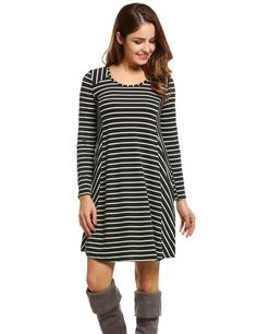 Black Women Loose Asymmetrical Patchwork Tunic Tops O Neck Striped Casual Dresses