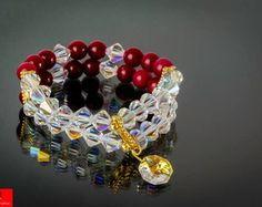 Pulseira Jade tingido rubi e cristais AB