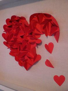 cut out a large heart and stick it onto a piece of paper, then cut out smaller hearts and do as shown above... great for valentines day or even as a card if you spouse has had a bad day/... make people happy , the diy way :) xx