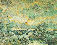 Vincent van Gogh: The Paintings (Cottages and Cypresses: Reminiscence of the North) 1890. Van Gogh Museum - Amsterdam.
