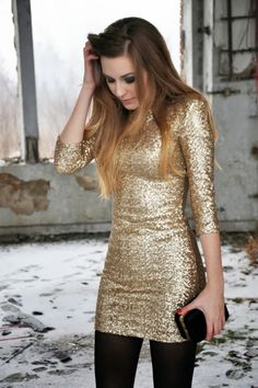 World of Women Fashion: Gold Dress with the Black Tights for a Cold New Ye...