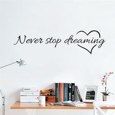 Dream Motto Never Stop Dreaming Wall Stickers inspiring Quotes Home Decor DIY Vinyl Wall Art Decal Mural Home decoration