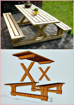 50 Cool DIY Patio & Porch Decor Concepts 50 coole DIY Patio & Veranda Dekor Konzepte This image has. Diy Picnic Table, Wooden Picnic Tables, Picnic Table Plans, Patio Table, Diy Patio, Dining Table, Resin Patio Furniture, Diy Outdoor Furniture, Diy Pallet Furniture